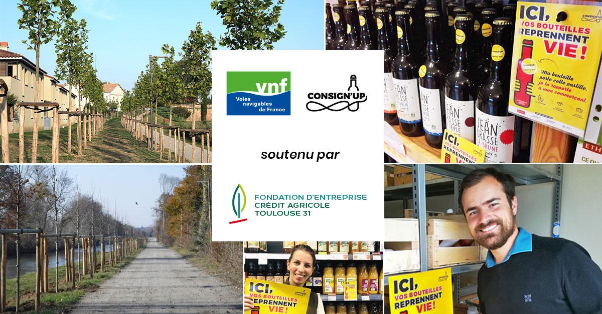 Consign'up et Voies Navigables de France soutenu par la Fondation d'Entreprise du Crédit Agricole Toulouse 31