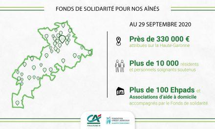 Fonds solidarité des aînés: 330 K€ versés par le Crédit Agricole Toulouse 31